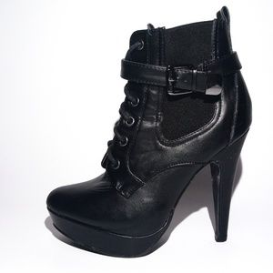 GUESS Black Leather ANKLE BOOTS Women's 7
